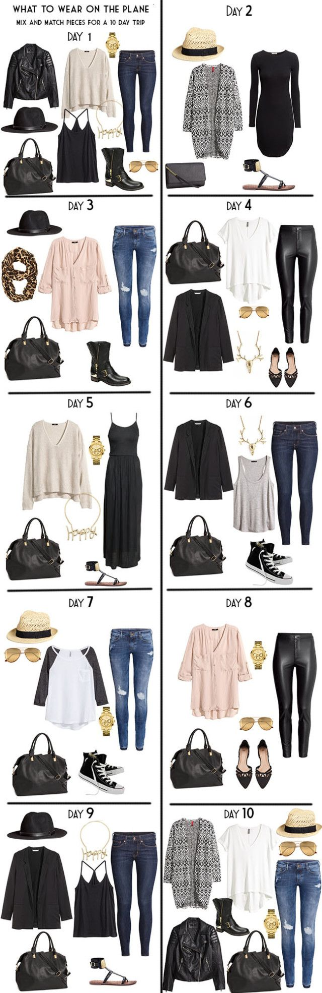 10 Day Packing List 20 pieces in a carry-on for Day wear built from my Capsule wardrobe. #packinglist #travellight #capsule