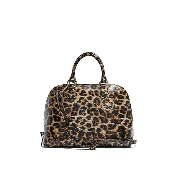 Guess Amy Quattro G Patent Dome Satchel 90 Liked On Polyvore Featuring Bags Handbags Leopard Quilted Purse White Leather