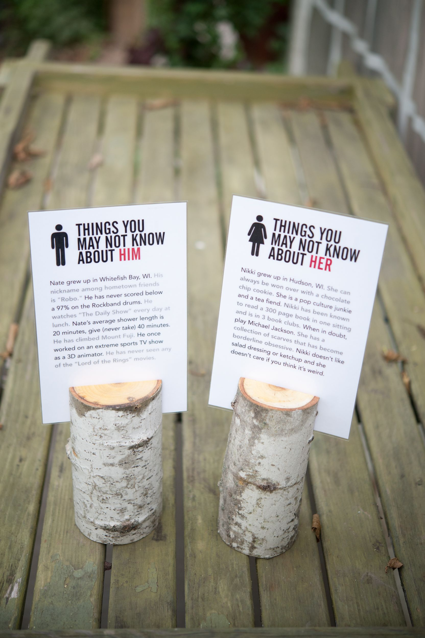 fun facts to put on display on the dinner tables unique wedding