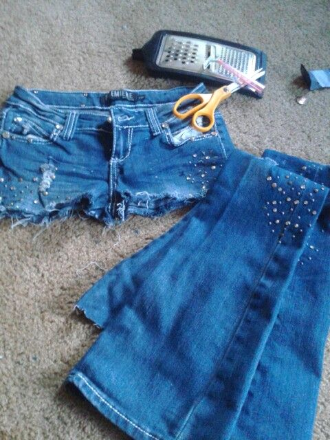 Cut off old jeans and take jewels off old jeans and glue them on with fabric glue  . fix the bottom of the shorts with razor scissors and  cheese grader. ☺