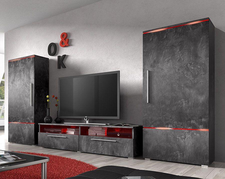 ensemble meuble tv couleur effet beton
