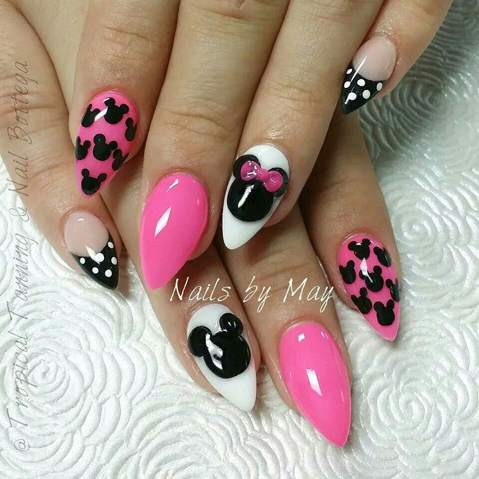 Pink disney inspired nails love the art, not the shape... | Nails ...