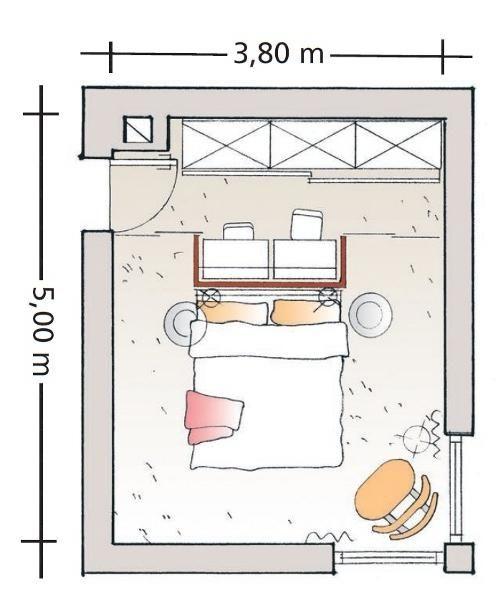 Eine weiße Wand im Rücken Schrankbett, Schlafzimmer