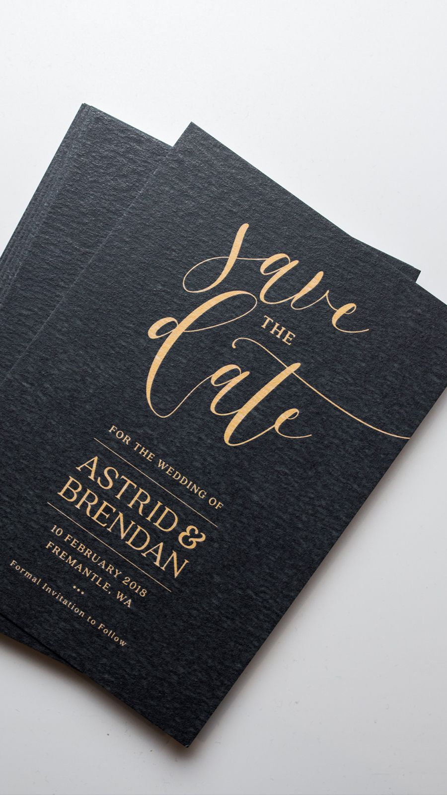 Save The Date Cards Black Paper With Gold Foil