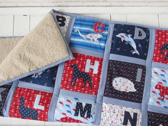 Nautical Baby Blanket Abc Quilt Baby Boy Blue White Red For Boys