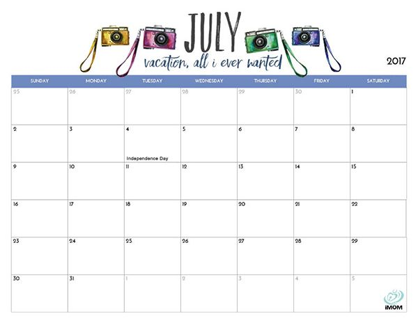 2017 Printable Calendar for Moms Printable calendars, Planners - vacation schedule template