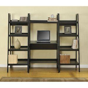 Altra Metal Ladder Desk With Set Of 2 Bookcases Black
