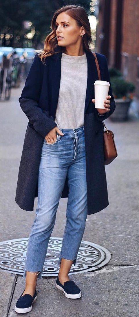 Navy Coat + Cream Knit. Mom Jeans + Slip On Sneakers