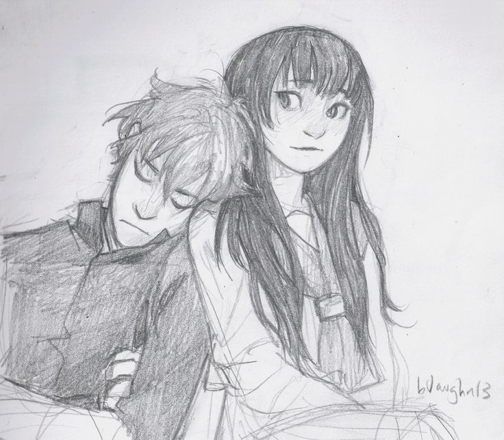 Brother Sister Siblings Cute Couple Drawings Sketches