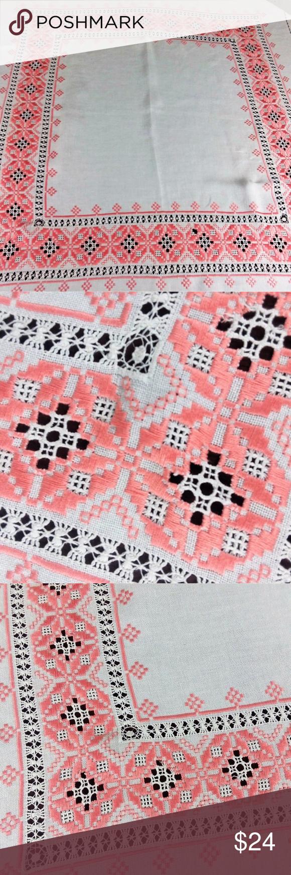 Linen Handmade Embroidered Drawn Work TableclothVt ...