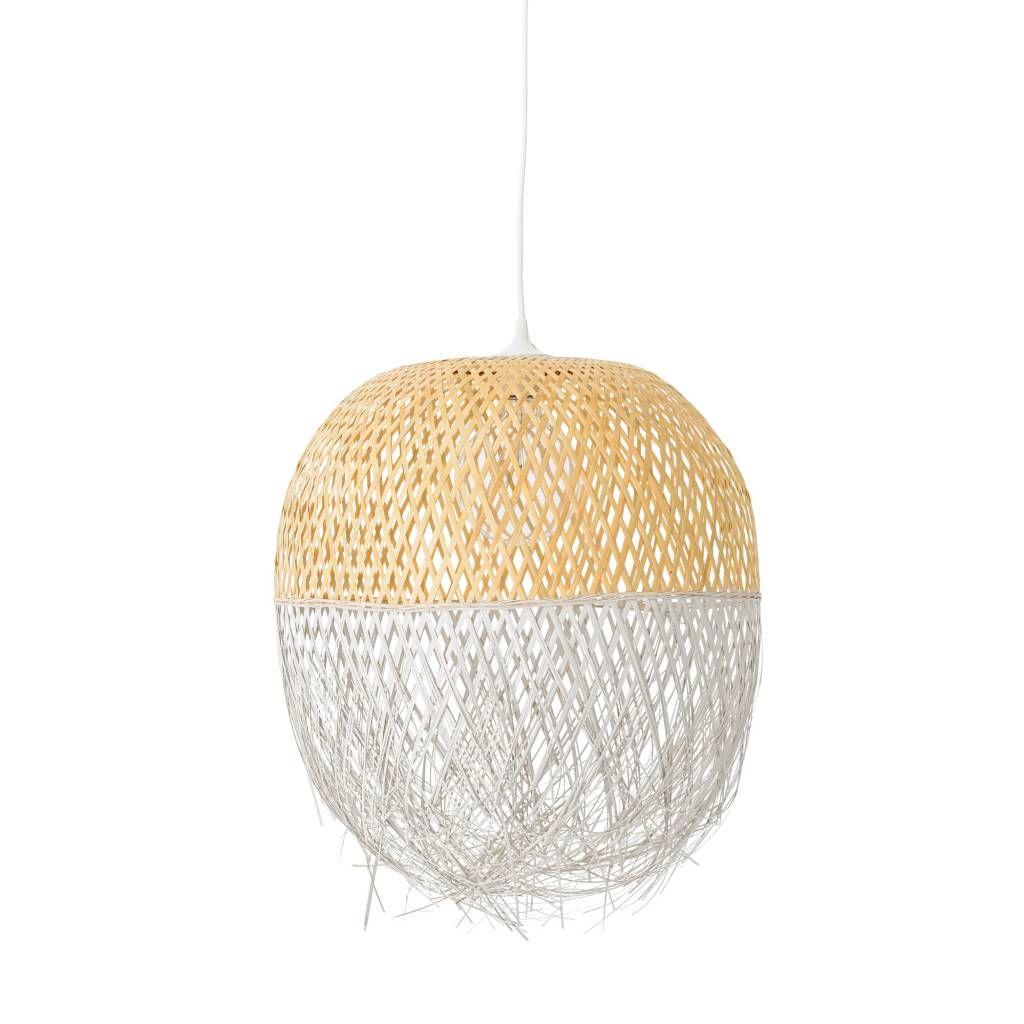 lampe suspension bambou naturel et blanc 45xh62m. Black Bedroom Furniture Sets. Home Design Ideas