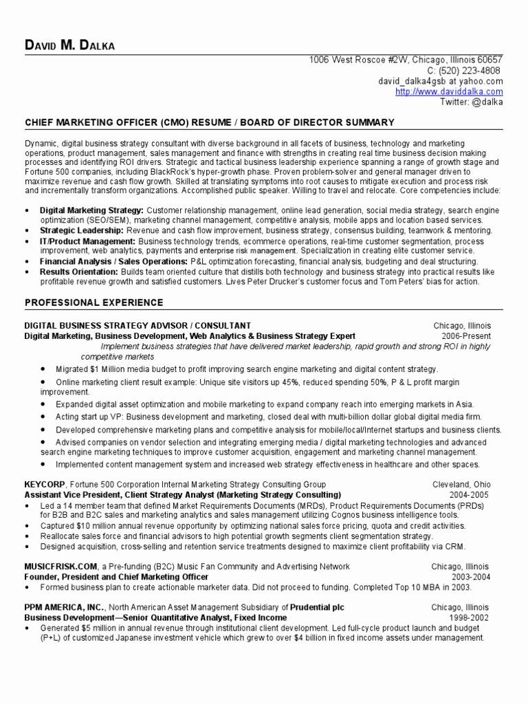 Chief Marketing Officer Resume Lovely Chief Marketing