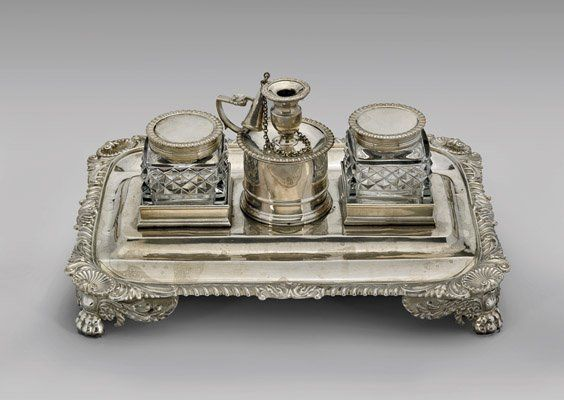Antique English George Iii Silver Desk Set Mar 22 2015 I M Chait Gallery Auctioneers In Ca Silver Desk Antique Inkwells Antiques