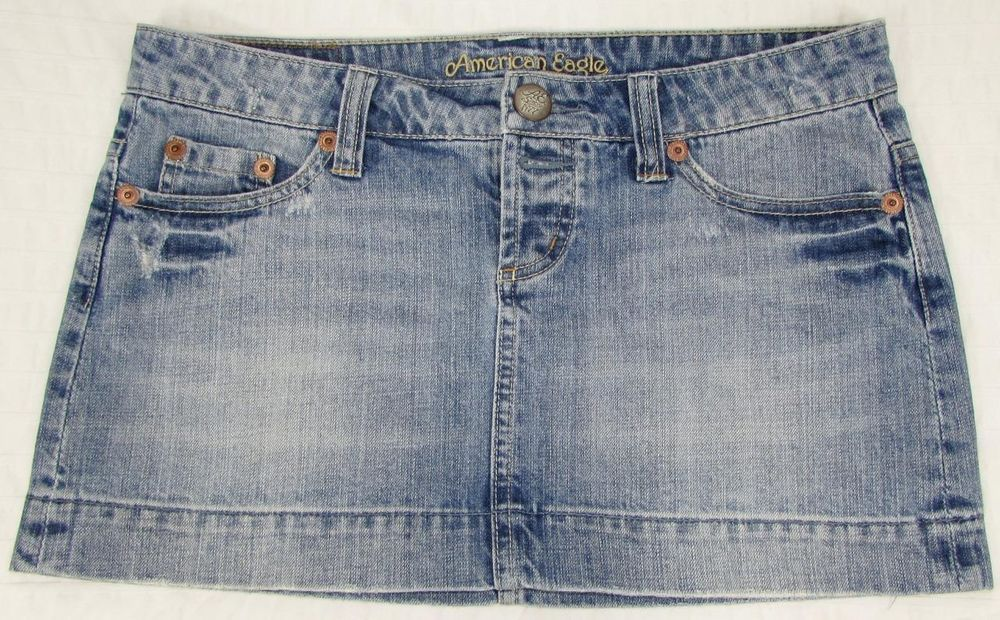 Women American Eagle Jean Micro Mini Skirt Distressed Faded Button Front sz 4