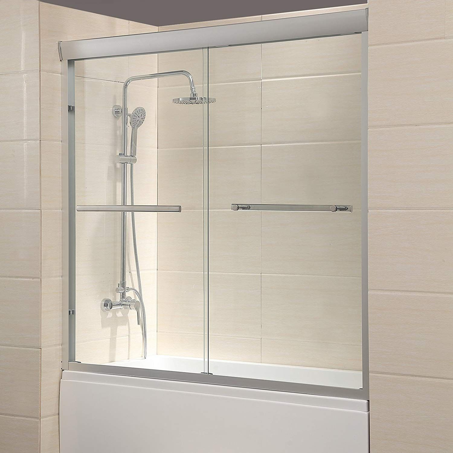 Mecor 60 W X 57 4 H Framed Bathtub Sliding Shower Door 1 4 Clear Glass With 2 Towel Bars Finish Sliding Shower Door Shower Doors Bathroom Shower Doors