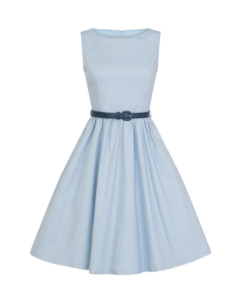 d00135f757cda8 Audrey  Classic 1950s Inspired Swing Dress in Sky Blue Cotton in ...