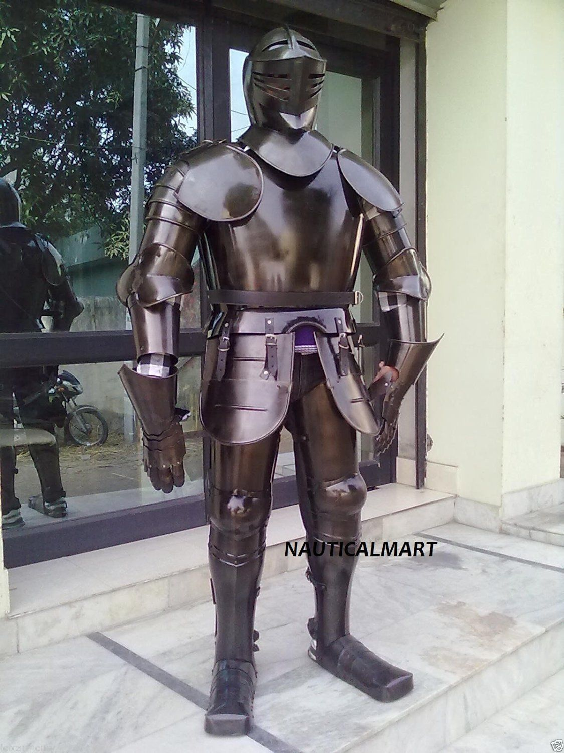 Larp Medieval Wearable Night Black Full Suit Of Armor Costume Suit Of Armor Medieval Armor Combat Armor