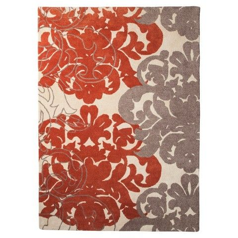 Wonderful Threshold™ Exploded Damask Area Rug   Coral/Gray