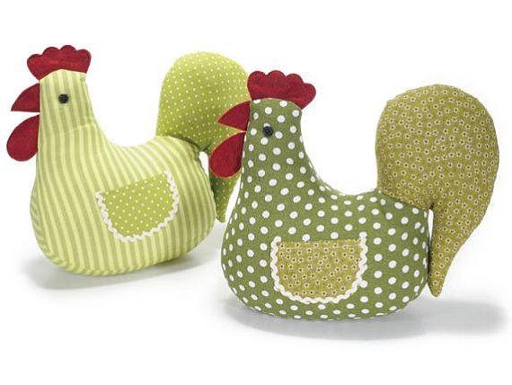 Butoir de porte tissu vert poule | Movil de gallinas y moldes de ...