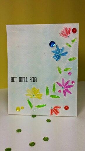 Watercolor Get Well Soon card