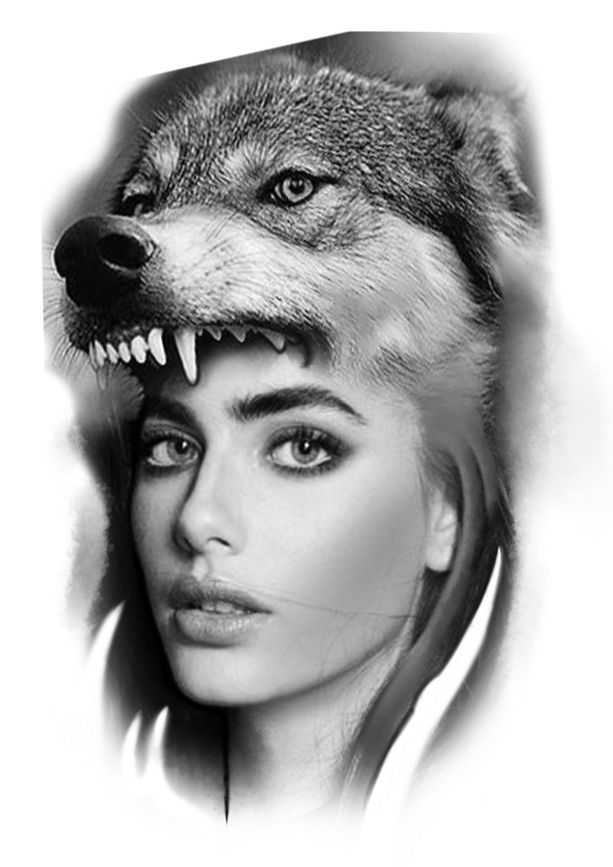 Woman wolf tattoo design realistic Tatuagens preto e
