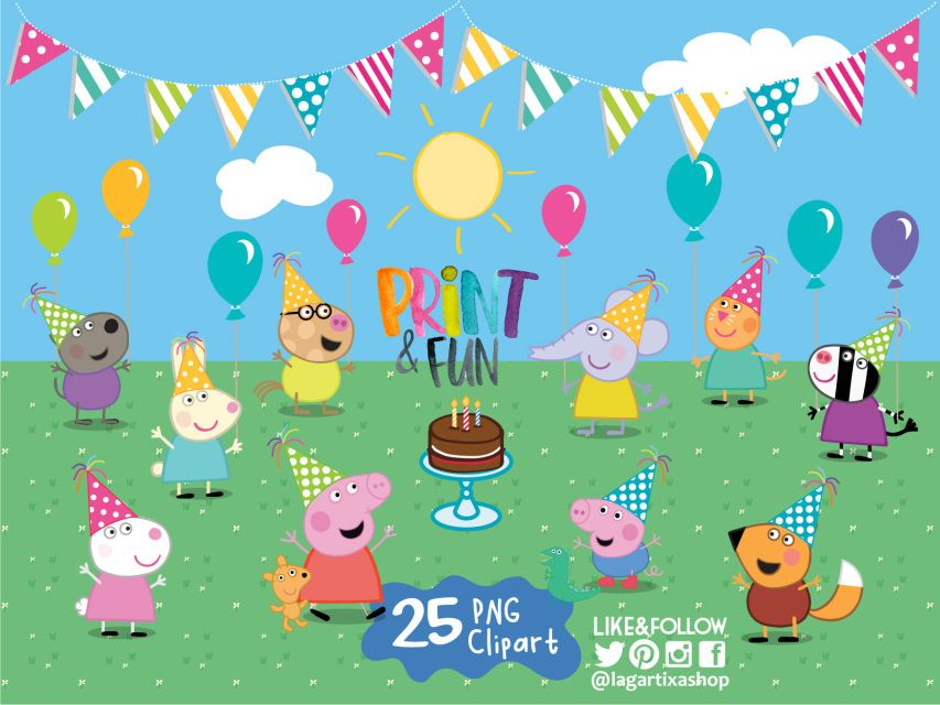 Peppa Pig George And Friends Birthday Party Png Clipart Elements Background Cake Balloons Party Hats Event Decoration Friend Birthday Peppa Pig Party Baby Shower Invitations