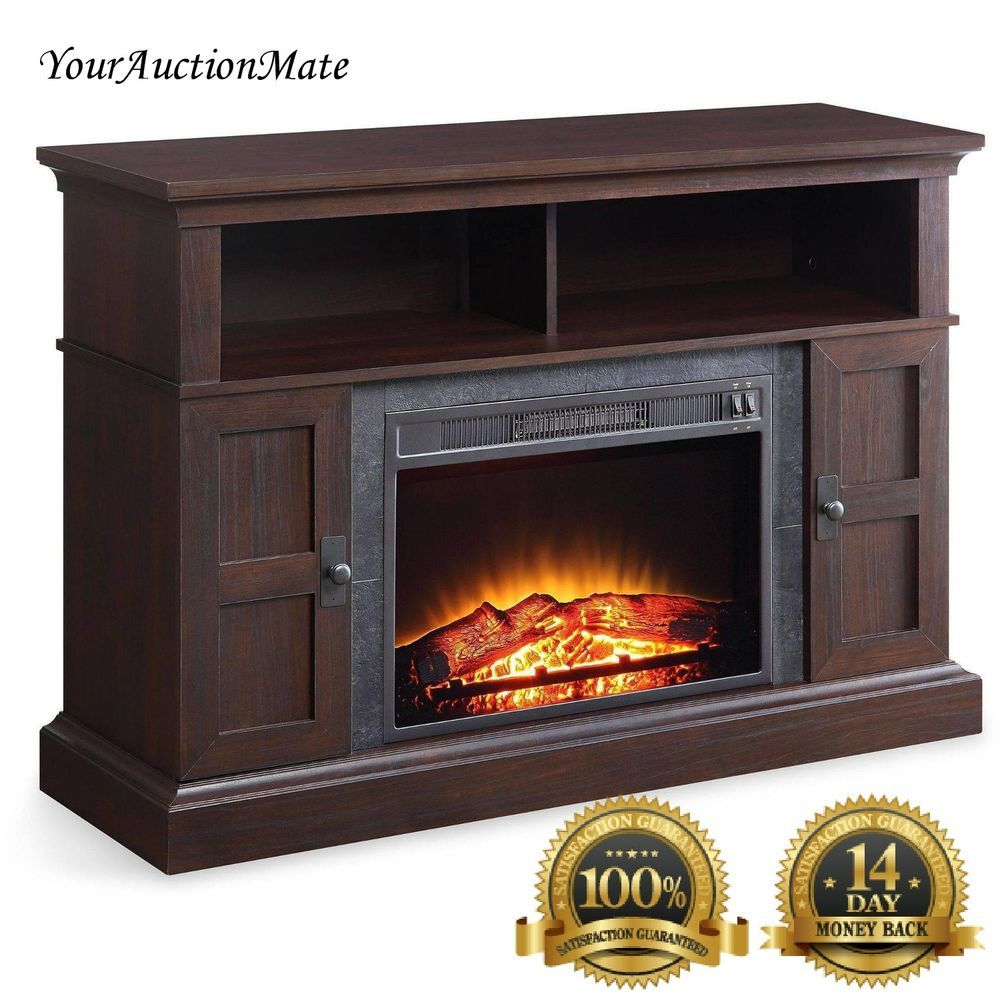 Electric Fireplace Tv Console Stand Media Storage Shelves Heat