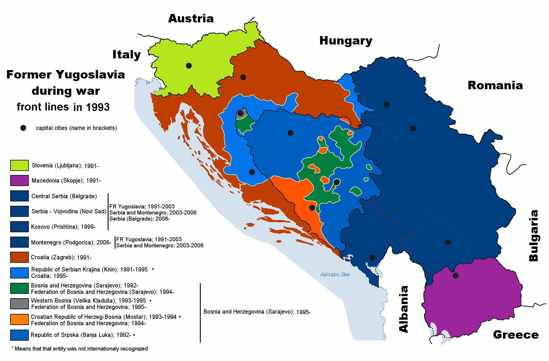 Yugoslavia In 1993 Bosnian War Serbia And Montenegro War