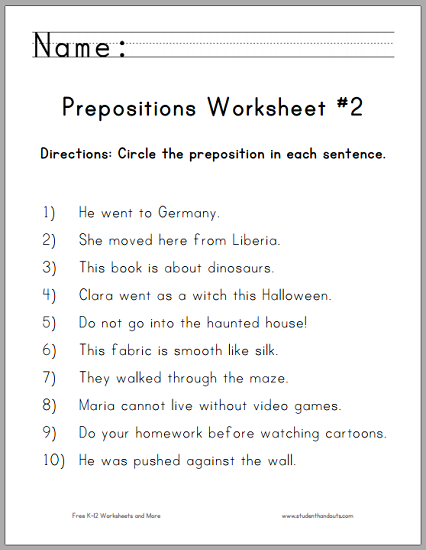Circle The Prepositions Worksheet For First Grade Free To Print