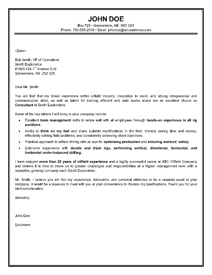this oilfield consultant cover letter highlights oil and