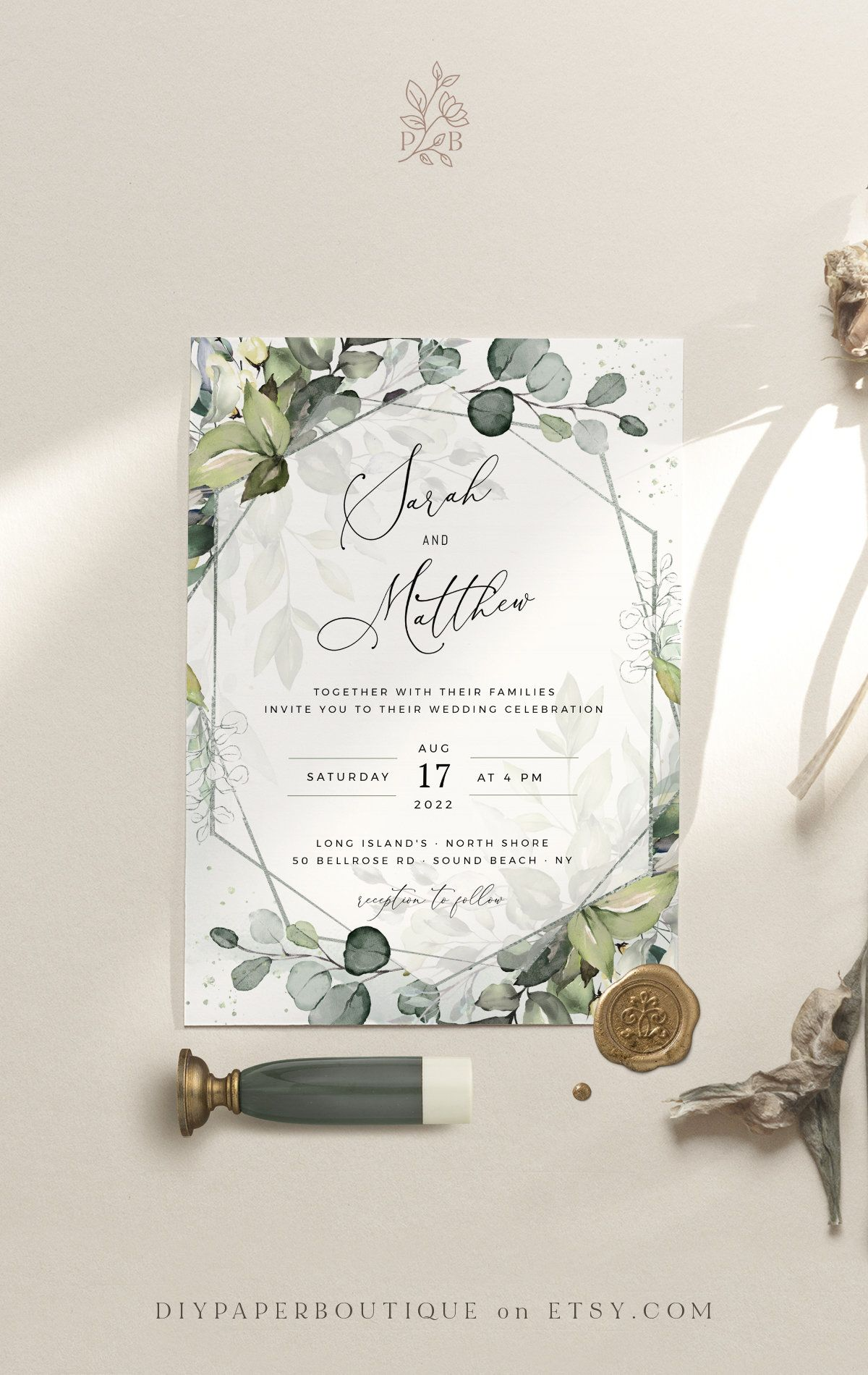 Greenery Wedding Invitation Printable Watercolor Wedding Invitation Set Botanical Wedding Invites Digital Download Invitations Wedding