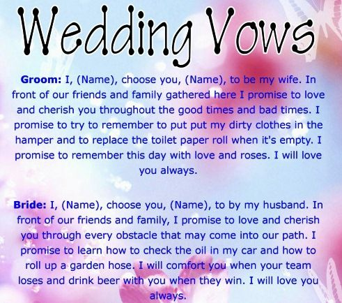 Funny Cute Wedding Vows