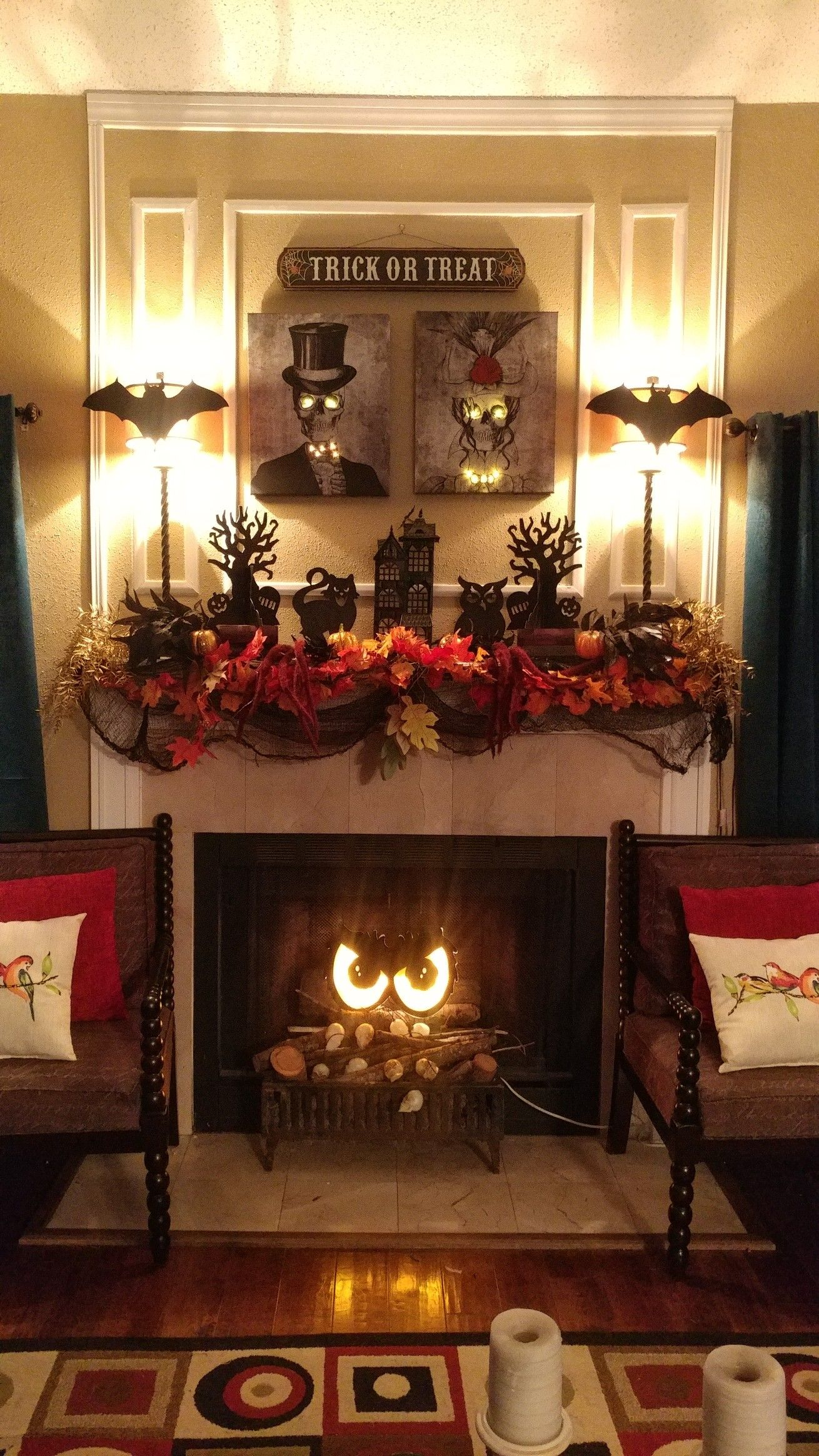 Halloween Fireplace Mantle in 2020