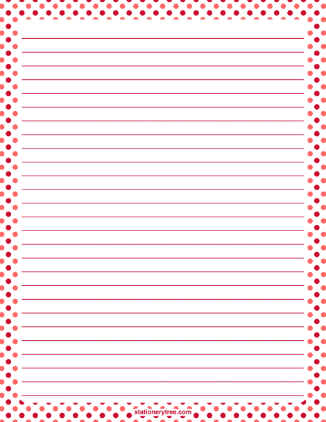Printable Valentine Polka Dot Stationery And Writing Paper. Multiple  Versions Available With Or Without Lines  Lined Stationery Paper