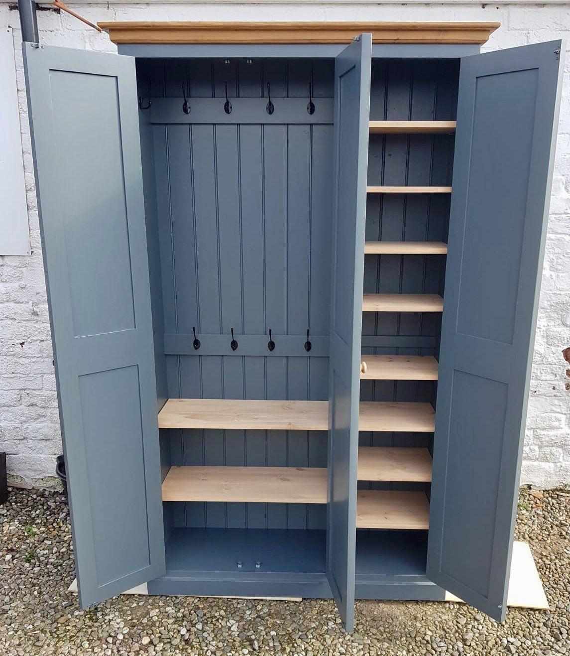 3 Door Hall /Utility Room / Cloak Room Coat & Shoe Storage Cupboard – Cheshire Pine and Oak