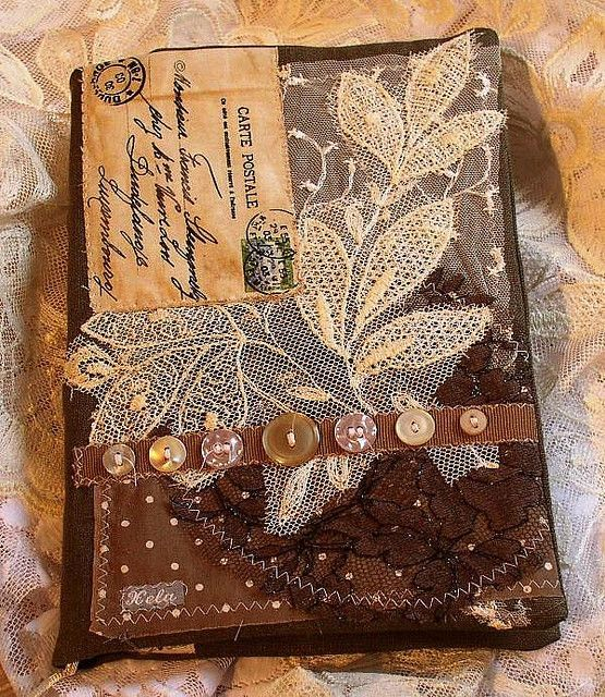 Reusable Fabric Book Cover ~ Cloth art books fabric book cover by xela via flickr