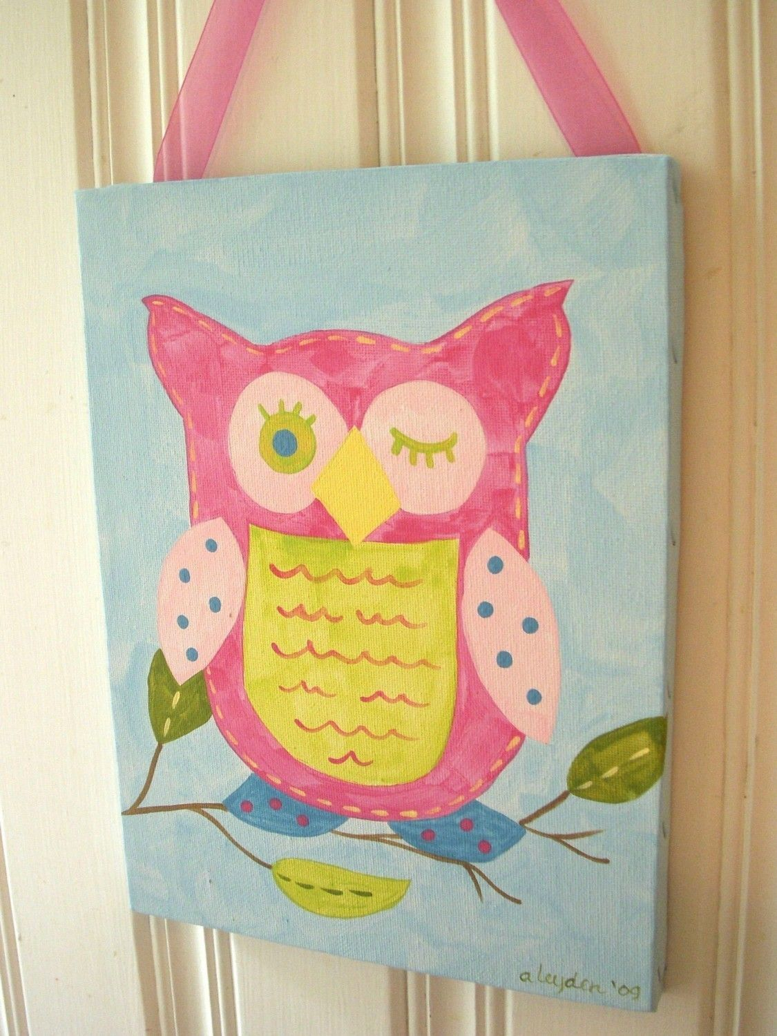 Girls owl canvas painting 11 x 14 Original artwork Baby decor ...