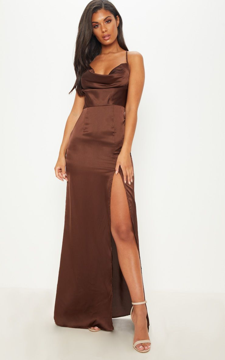 7a73b78ebf1 Chocolate Brown Cowl Neck Split Detail Maxi Dress