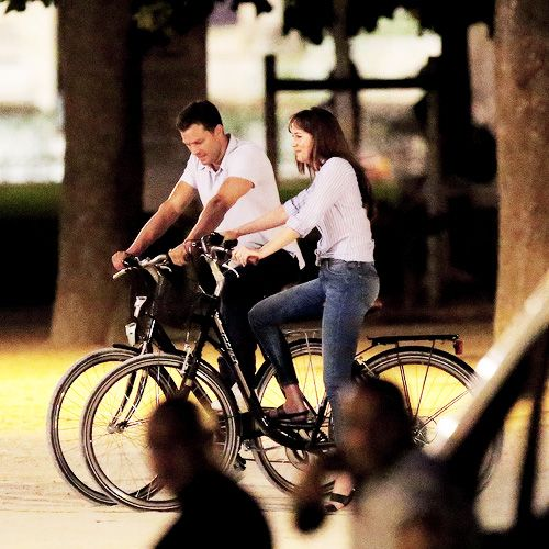 Jamie Dornan and Dakota Johnson filming bike scene in front of Louvre in Paris July 19th, 2016