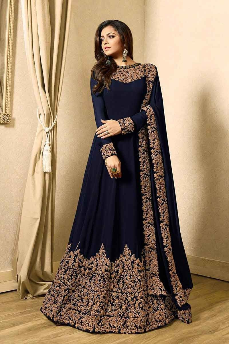 Drashtidhami embroidered fancy long anarkali suit in georgette