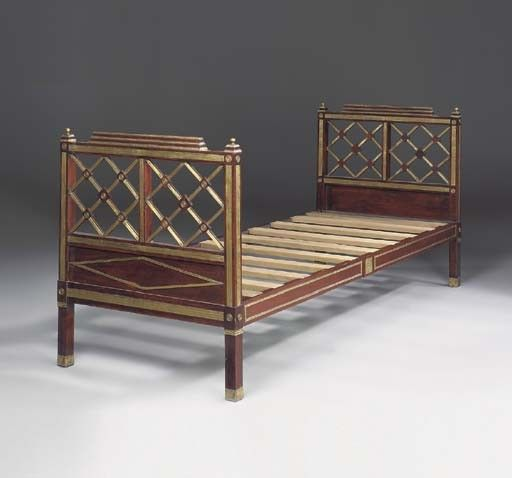 a russian brass inlaid mahogany and stained fruitwood bed - Fruitwood Bedroom Furniture