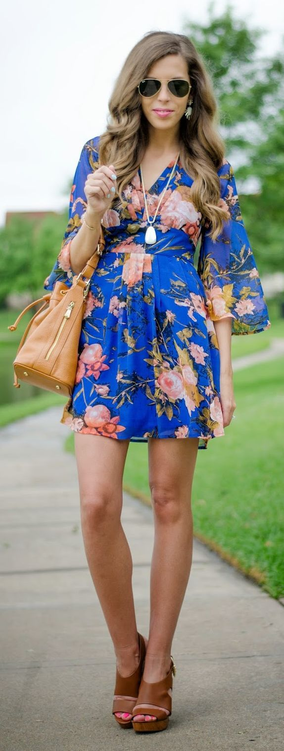 Blue Floral Dress by For The Love Of Fancy
