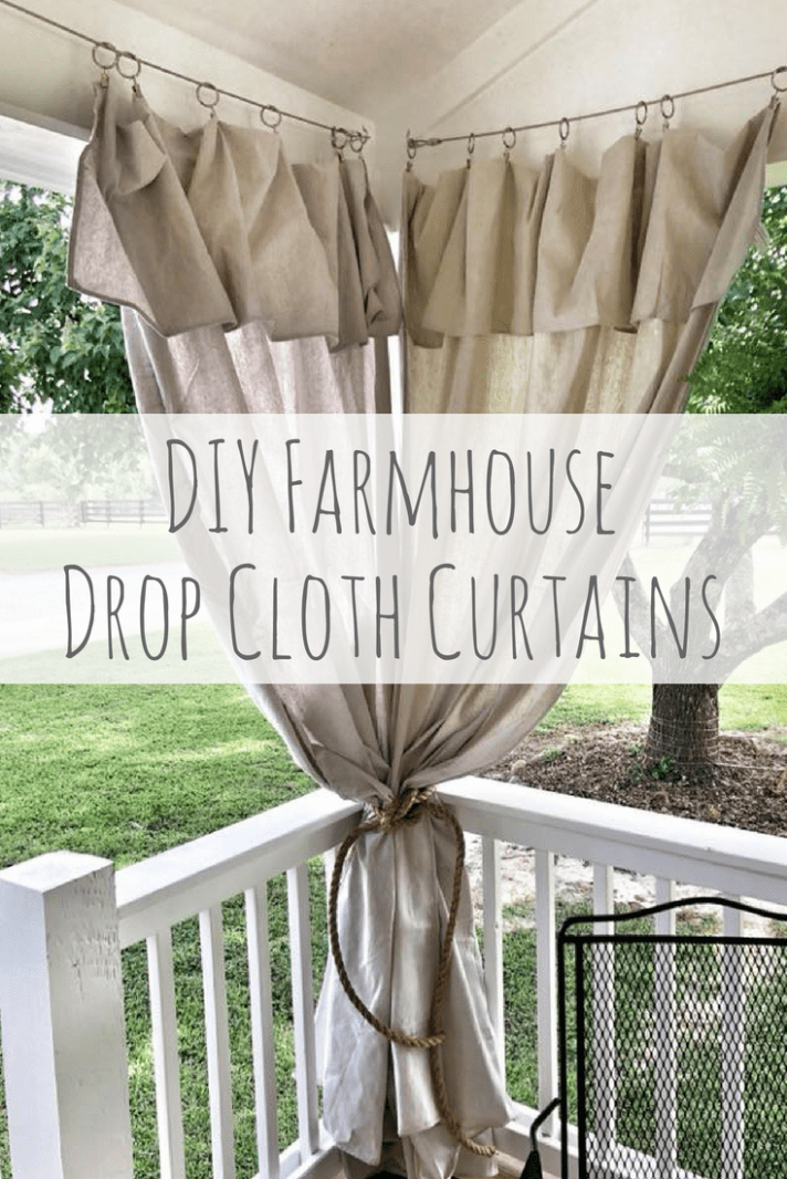 Diy How To Hang Drop Cloth Curtains With Cable Porch Curtains Outdoor Curtains For Patio Patio Curtains