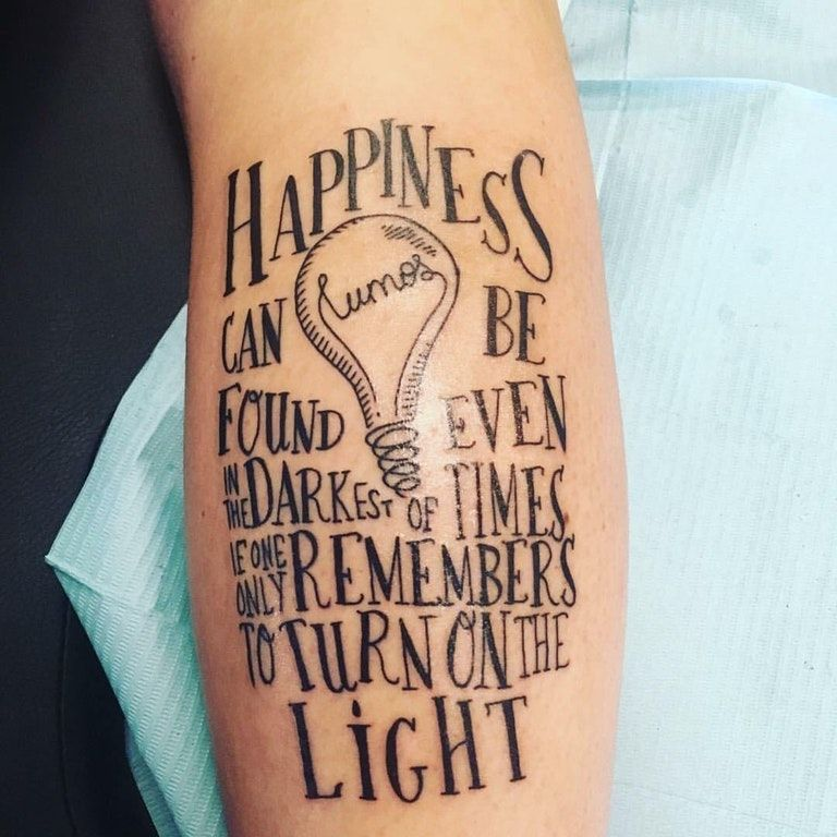 Tattoo Quotes Harry Potter: I Love The Light Bulb With Lumos In The Middle.