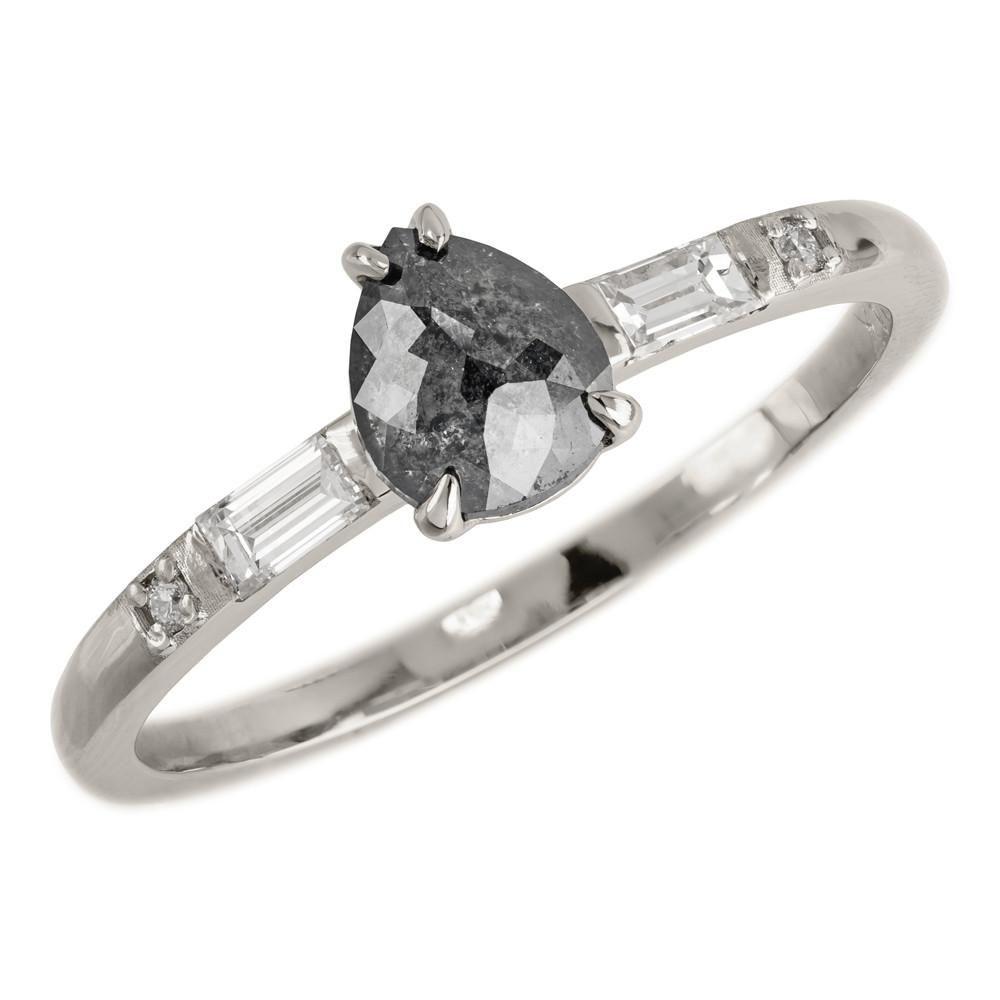 Black pear diamond vintage betty setting k white gold jewellery