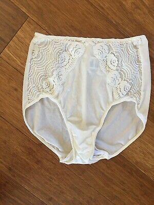 45545c76448 Vintage Rare Olga Ivory Chiffon Lace Trim High Cut Nylon Panties. Size 7