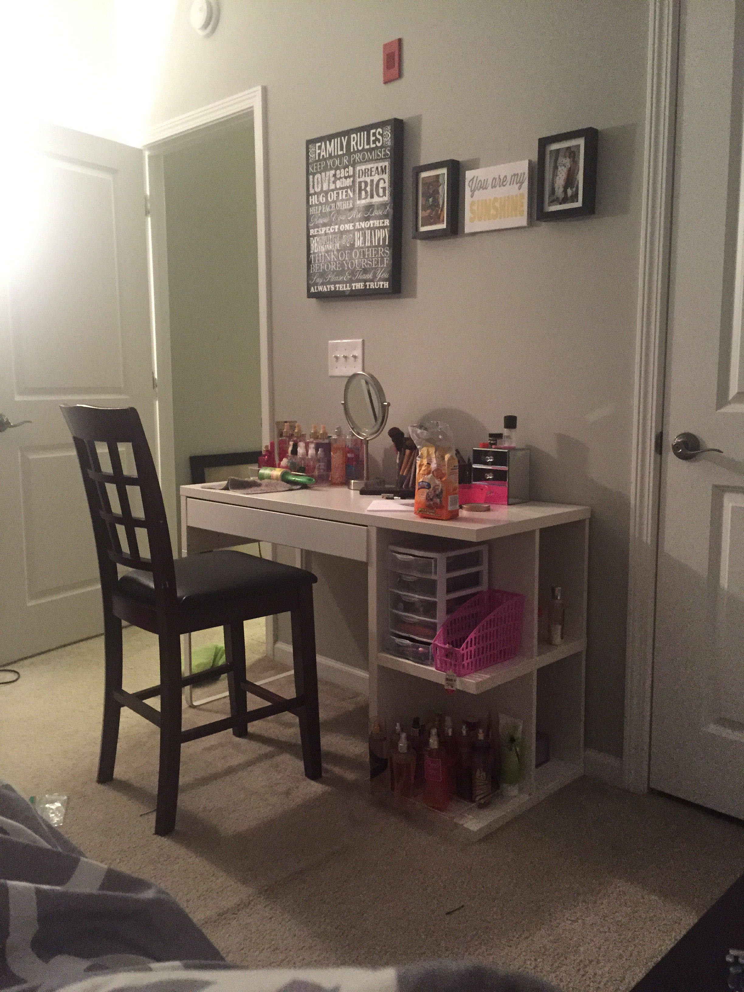 IKEA micke desk turned into makeup vanity! So affordable