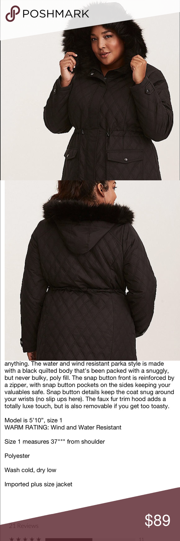 839015d872b NWT Torrid size 00 quilted faux fur coat New Torrid size medium torrid  Jackets   Coats