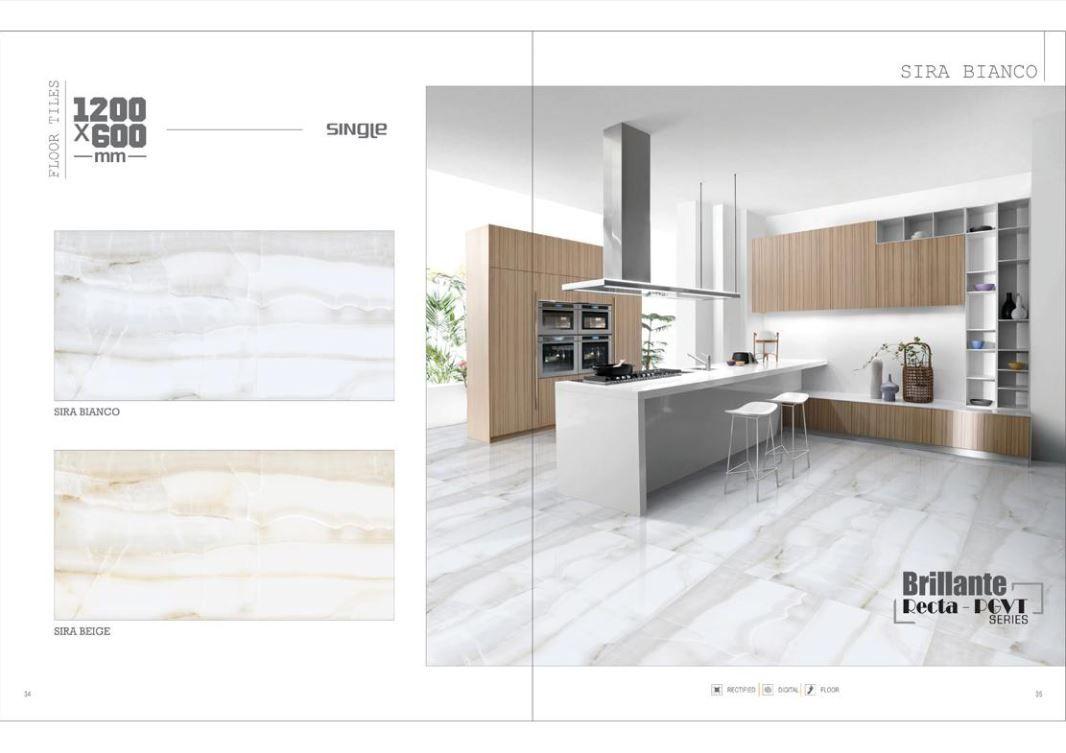 Millennium Tiles 600x1200mm (24x48) Digital Brilliante Recta PGVT Porcelain Floor Tiles Single Series.  - Sira Bianco  - Sira Beige