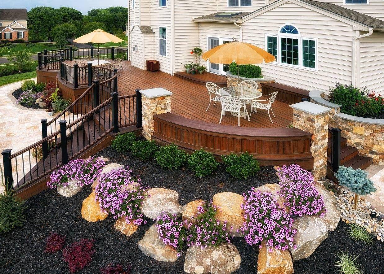 Amazing Deck With An Elegant Rock Garden Landscaping Idea Outdoor Patio Designs